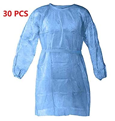 Disposable Protective Clothing, Hospital Isolation Gowns, Protective Coverall - Elastic Cuffs with Waist and Neck Tie Closures - Examination Gowns for Women Men 30 Packs
