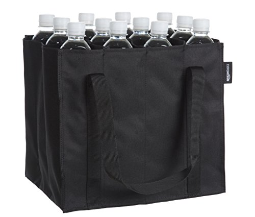 Amazon Basics - Bolsa para botellas, 12 compartimentos, botellas de 0,75 l, Negro