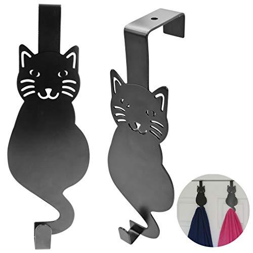 Evelots Over The Door Hook Hangers-Black Cat-Towel/Jacket-Hold 20 Lbs-Iron-Set/2