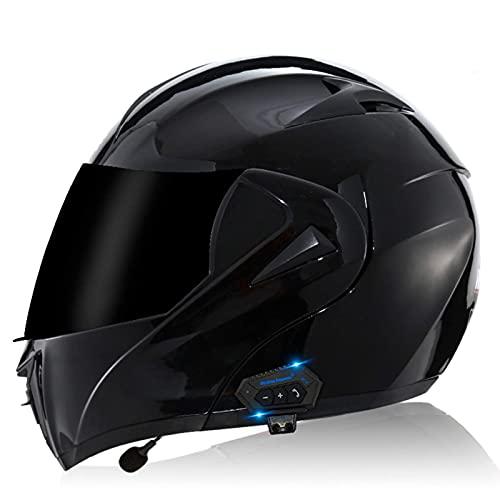 DXMRWJ Casco de Motocicleta Modular con Bluetooth, Casco de Motocicleta abatible frontalmente con Doble Visera, Casco de Motocicleta de Cara Completa liviano Aprobado por ECE Auriculares Bluetooth
