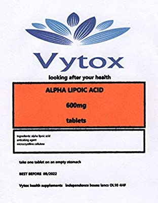 Alpha Lipoic Acid (600mg) 30 Tablets, 1 Month Supply, by vytox, Vegetarian