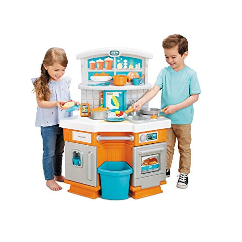 Little Tikes Home Grown Kitchen - Role Play Realistic Kitchen Real Cooking & Water Boiling Sounds Kitchen Accessories Set for Girls Boys - Multicolor