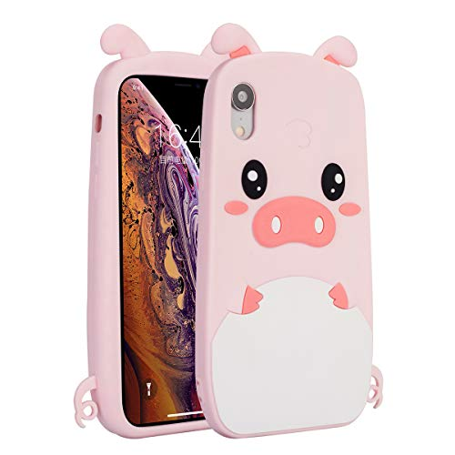 Case for iPhone XR, 3D Cute Cartoon Silicone Pink Pig case for iPhone XR, Drop Protection Case Cover for Girls Teens Kids or Women