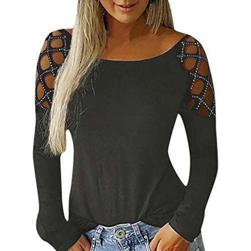 Alwayswin Damen Sexy Langarm T-Shirt Mode Elegant Bluse Langarmshirt Aushöhlen Verzierte Lange Hülsen Oberteil Beiläufige Wild Blusen Oberseiten Sweatshirt Tops