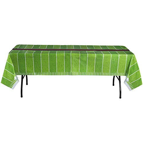 Hammont Disposable Plastic Table Cover (Pack of 4) – Football Party Supplies (54' x 108' Inches)