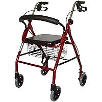 Mobiclinic, Modelo Alhambra, Andador para mayores, minusválidos, adultos o ancianos, de aluminio, ligero, plegable, con asiento y 4 ruedas, Color Granate