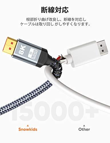 8Kディスプレイポートケーブル2mDPtoDPケーブル1.4規格8K@60Hz4K@144Hz2K@165HzDisplayportケーブル32.4Gbpsハイスピードナイロン編み保護グレー