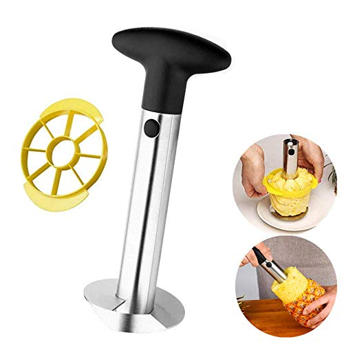 Stainless Steel Fruit Pineapple Peeler Corer Slicer Cutter Kitchen Tool With a Wedger Device Perfect for Home and Kitchen with Sharp Blade for Diced Fruit Rings
