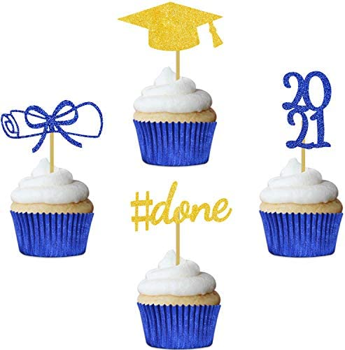 Blue Graduation Cupcake Toppers 2021 Party Decorations Glitter Hat Congrats Cake Picks Supplies product image