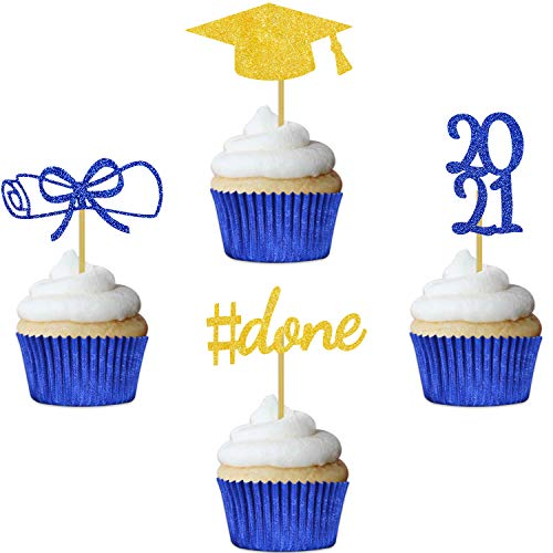 Blue Graduation Cupcake Toppers 2021 Party Decorations Glitter Hat Congrats Cake Picks Supplies 24 Pack