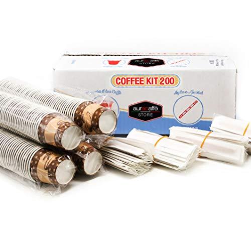 200 Pz Tazzine Caffe Carta Biodegradabili Biocompostabili Bicchieri 75ml + 200 Pz Palettine Legno Monouso