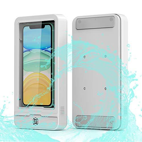ShellBox Wall Mounted Phone Case Shower Mount Shelf Holder Waterproof Bathroom Phone Holder for Bathroom Mirror Bathtub Kitchen (White)