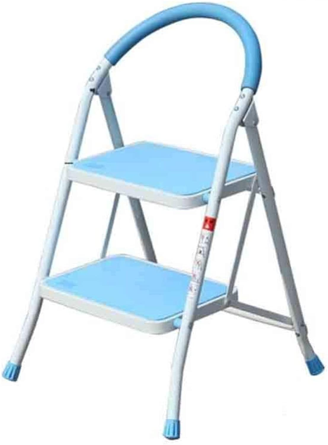 Household 2 3 Step Ladder Folding Ladder with Handle Aluminum Alloy Anti-skid Ladder Mat Family Kitchen Stool (color   bluee, Size   2 steps)