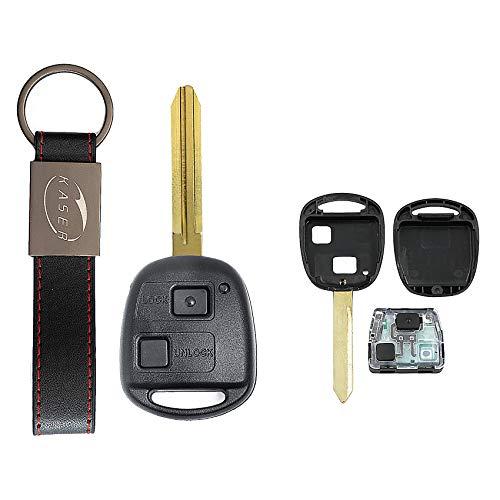 KASER Llave Mando Coche Electrónica 2 Botones Compatible para Toyota Yaris Corolla Aygo Rav4 (433mhz 4D67chip Hoja TOY43) Transponder Listo para Programar