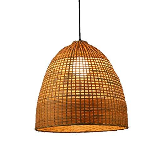 WFBP Ratán de bambú lámpara de Techo Pantalla Colgante de Mimbre Estilo ratán Lámpara Hecha A Mano De Jardín Creativo Lámpara Techo Dormitorio Sala De Estar Café,350 * 500mm