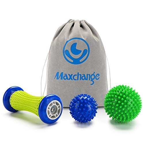 Plantar Fasciitis Roller Foot Massage Ball-Foot Massager Ball Set, 1 Foot Roller and 2 Spiky Massage...