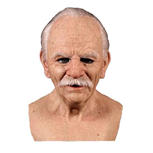The Elder Old Man Kopfbedeckung - Ein weiteres Ich Halloween Karneval Maske Tanzparty Latex Falten Furchterregender Alter Mann für Maskerade Halloween Kopfbedeckungsdekor(Alter Mann mit grauen Haaren)