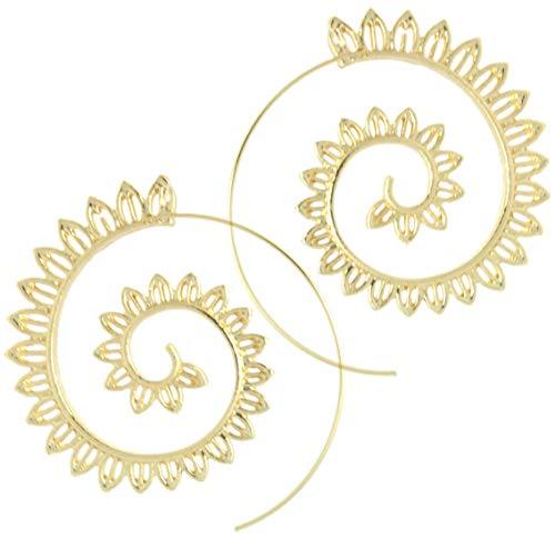 2LIVEfor Ohrringe Creolen Silber Gold Ohrhänger Design Spirale Schnecke Hoop Creole Rund Ethno Style Creolen Orientalisch Zacken Blätter Blüten (Gold)