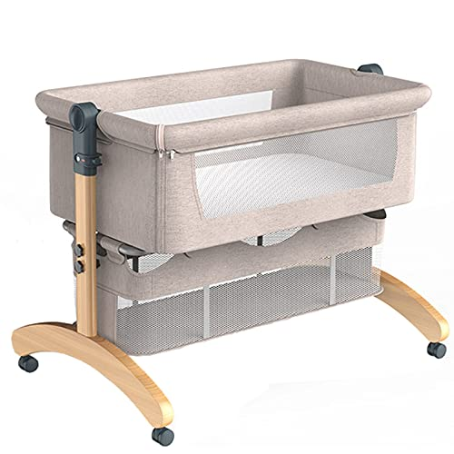 ZHZHUANG Bedside Mobile Baby Cot,Compact Foldable Travel Crib,Adjustable Height Co-Sleeping Bed,Anti-Spitting Milk Baby Bed for 0-18 Months,Khaki