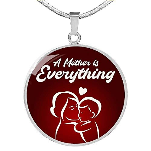 Collar Con Colgante Circular «De Mother Is Everything» - Acero Inoxidable - Luxury Collar (Plata), taille unique