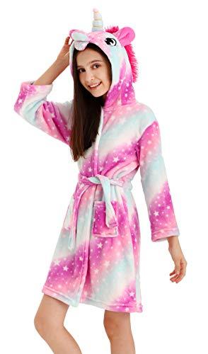 DRESHOW Weiches Einhorn Kapuzen Bademantel Nachtwäsche - Einhorn Geschenke für Mädchen (Pink Galaxy, 7-8 Jahre)