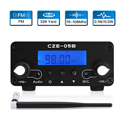 FM Transmitter for Church, Elikliv 0.1/0.5W LCD PLL Wireless Stereo Broadcast with Antenna Range 76~108MHz FM Transmitter Radio Stereo