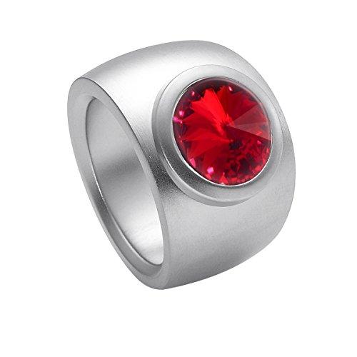 Heideman Ring Damen Coma Verlauf aus Edelstahl Silber farbend matt Damenring für Frauen mit Swarovski Stein Kristall siam rot im Fantasie Edelsteinschliff 10mm