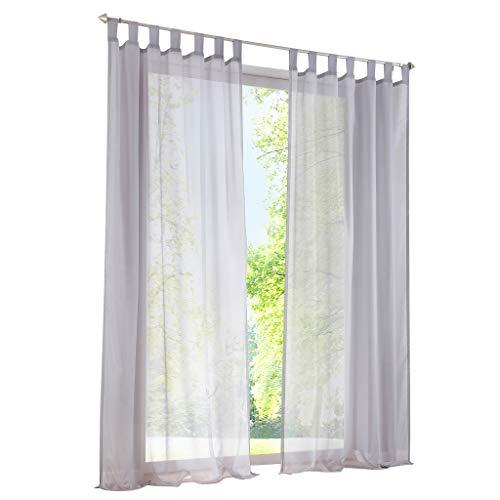ESLIR Gardinen mit Schlaufen Vorhänge Fensterschal Transparent Schlaufenschal Voile Grau BxH 140x225cm 1 Stück
