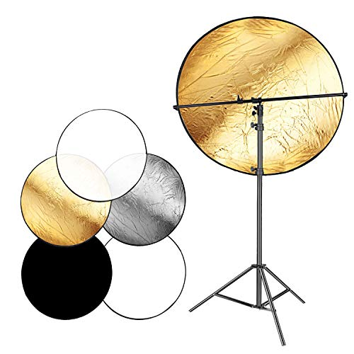 Neewer Photo Studio 43 inches 5in1 Collapsible MultiDisc Lighting Reflector Diffuser Kit Includes 65 Feet Metal Light Stand and Telescopic Reflector Support Arm for Portrait Video Photography