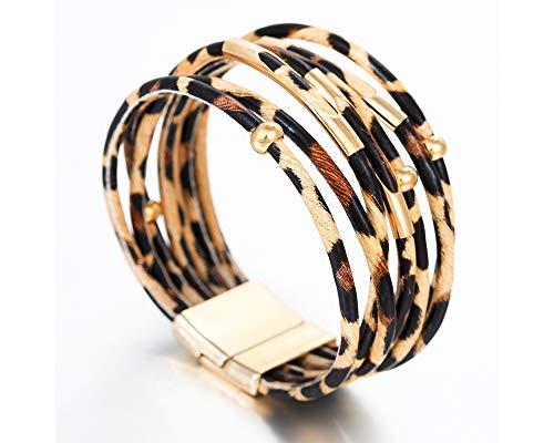 Fesciory Leopard Multi-Layer Wrap Leather Bracelet 2