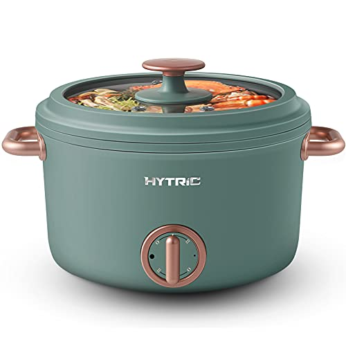Hytric Electric Hot Pot, 2.5L Portable Electric Skillet with Nonstick Coating, Dual Power Control Multi-Function Electric Cooker for Stir Fry, Steak, Noodles, Ramen Cooker for Dorm and Apartment