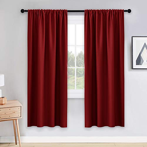 PONY DANCE Home Decor Curtains Set - Window Drapes Thermal Curtain Rod Pocket Xmas New Year Room Darkening Panels/Window Treatments Light Blocking for Living Room, 42 W x 72 L, Red, 2 PCs