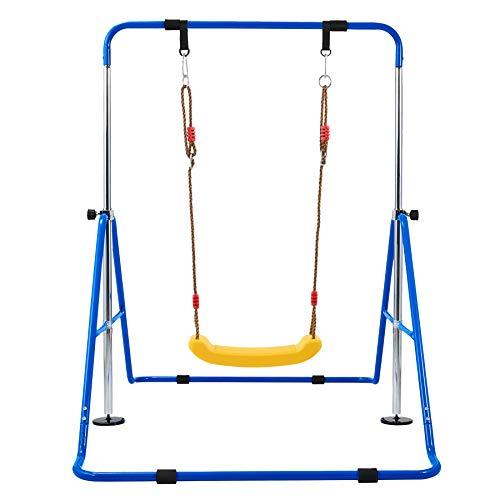 Z ZELUS Höhenverstellbar Gymnastics Reck Gymnastikstange Faltbar Turnreck Horizontale Stange mit Schaukel Turnstange Kletterstangen für Kinder Heimtraining