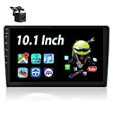 Android Car Stereo with GPS Navi 10.1 Inch Touch Screen Car Multimedia Player Podofo Double din Radio Support Bluetooth WiFi FM USB Mirror Link + Rearview Camera