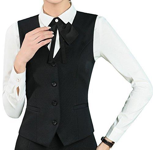 "Vocni Women's Fully Lined 4 Button V-Neck Economy Dressy Suit Vest Waistcoat ,Black ,US L (Fit Bust 39.8""-42.1""),Asia 5XL"