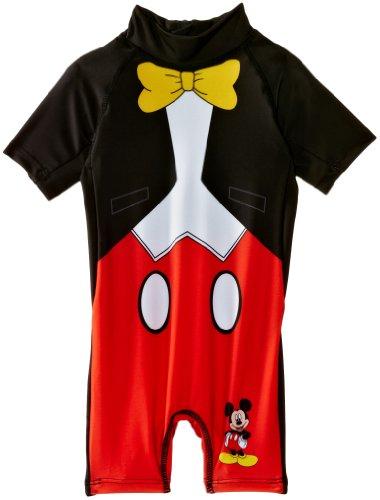 Disney Mickey Mouse EN1852 Costume da Bagno, Nero (Black (Black/Optic White/Red), 2 Anni Bambini e Ragazzi
