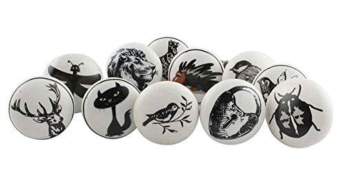 IndianShelf - Juego de 2 pomos de cerámica hechos a mano para cajones, diseño antiguo, color blanco y negro
