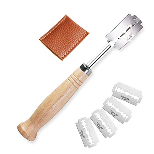 Bread Slashing Knife, Hand Crafted Bread Slashing Tool, Bread Lame Dough Scoring Tool with 4pcs Replacement Blades for French Toast Bagel Cutting