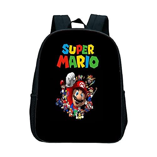 LIANGJI Super Mario School Bag Niños dibujos animados bolsa escolar Super Mario Mario Luigi Luigi impermeable escuela bolsa masculina y femenino estudiantes anime mochila