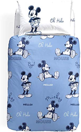 Caleffi - Funda nórdica de Mickey OK, color azul para cama individual (funda de edredón de 155 x 245 cm + sábana bajera de 90 x 200 cm + 1 funda de almohada de 50 x 80 cm)
