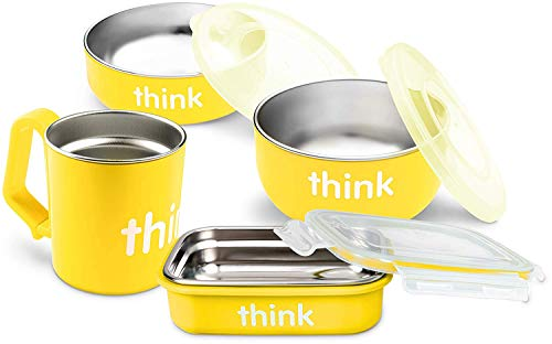 Thinkbaby 7-Piece Feeding Set | Baby Bowl, Cereal Bowl, Bento Box, Lids, Kids Cup | BPA-Free, Stainless Steel Removable Interior - Yellow (Yellow 220102)