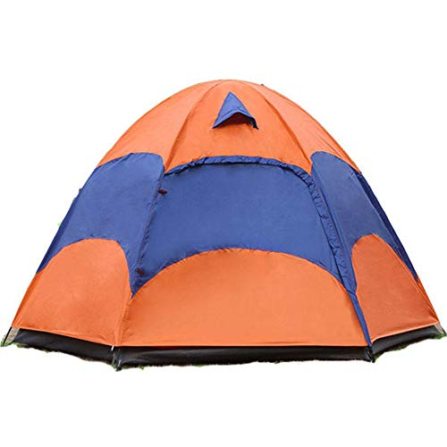 Family Tent Family Tent With Storage Bag Outdoor 2-5 Persons Large Camping Tent Double Layer Rainproof Anti-UV Sun Shade Canopy Outdoor Tent (Color : Blue+Orange, Size : 240x240x145cm)