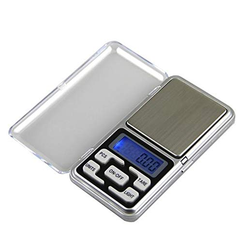 Mini Básculas Digitales Electrónica Bolsillo Balanzas Cocina Portátil Herramienta Pesaje Alimentos Escala Alta Precisión Con Pantalla LCD Función Tara (500/0.1g)