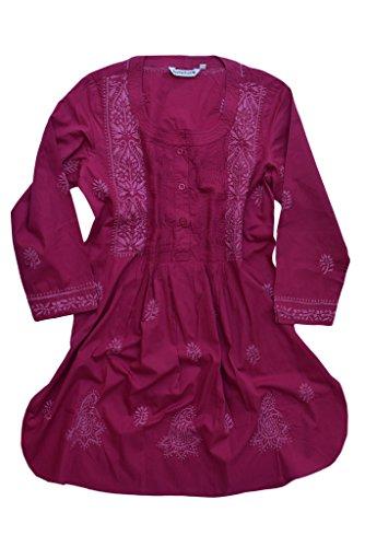 Ayurvastram Bibab Tunika-Oberteil aus Reiner Baumwolle von Hand Besticktes Fronttuch Kurti: Rosa: 28W
