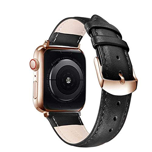 Bruin Lederen Band Loop Band Voor Apple Horloge 4 3 2 1 38mm 40mm Mannen Zachte Lederen Horloge Band voor iwatch 5 44mm 42mm Armband, 42mm, rosegoud Zwart