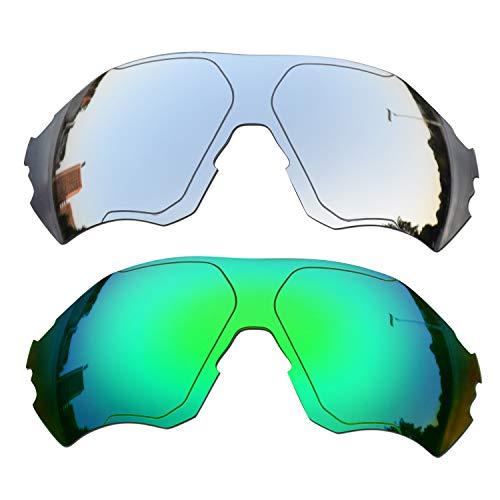 SOODASE Para Oakley EVZero Range Gafas de sol Plata/Verde 2 Pares Lentes de repuesto polarizadas