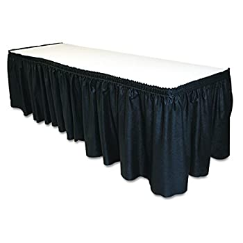 Tablemate TBLLS2914BK Disposable Linen-Like Table Skirt Self-Adhesive 29  x 14  Black
