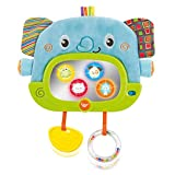 Musical Tummy Time Mirror with Stand and Attachment for Crib, Playgym or Stoller - Soft Elephant Baby Play Floor Mirror with Hidden Characters  Daytime Play and Nighttime Lullaby Modes  0+ Months