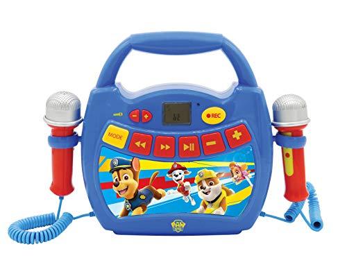La Patrulla Canina, Chase & Marshall, Mi primer reproductor digital Bluetooth con 2 micrófonos, inalámbrico, función Grabar, efecto de cambio de voz, para niños a partir de 3 años, rojo/azul (MP300PAZ