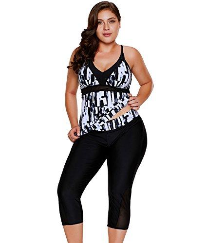 LALAGEN Women's Plus Size Rash Guard Capris Tankini Athletic Swimwear Black XXXL-1